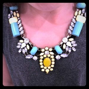 Turquoise & yellow stone necklace with gold chain